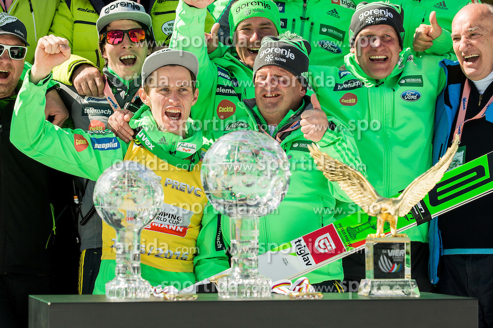 Overall World Cup winner Peter Prevc (SLO), coaches Jani Grilc, Urban Jarc, Nejc Frank, Goran Janus, Ljubo Jasnic celebrate with globes and Four Hills Tournament's Eagle during trophy ceremony after the Ski Flying Hill Individual Competition at Day 4 of FIS Ski Jumping World Cup Final 2016, on March 20, 2016 in Planica, Slovenia. Photo by Vid Ponikvar / Sportida