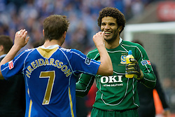 LONDON, ENGLAND - Saturday, May 17, 2008: Portsmouth's goalkeeper David James celebrates winning the FA Cup at the final whistle with Hermann Hriedarsson against Cardiff City during the FA Cup Final at Wembley Stadium. (Photo by Chris Ratcliffe/Propaganda)