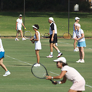 The double competition in full flow during the 2009 ITF Super-Seniors World Team and Individual Championships at Perth, Western Australia, between 2-15th November, 2009.