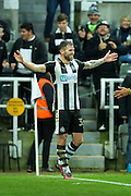 Newcastle United forward Daryl Murphy (#33) celebrates Newcastle United's first goal (1-0) during the EFL Sky Bet Championship match between Newcastle United and Rotherham United at St. James's Park, Newcastle, England on 21 January 2017. Photo by Craig Doyle.