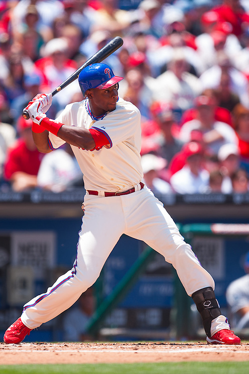 PHILADELPHIA, PA - JUNE 07: John Mayberry Jr. #15 of the Philadelphia Phillies bats during the game against the Los Angeles Dodgers at Citizens Bank Park on June 7, 2012 in Philadelphia, Pennsylvania. (Photo by Rob Tringali) *** Local Caption *** John Mayberry Jr.