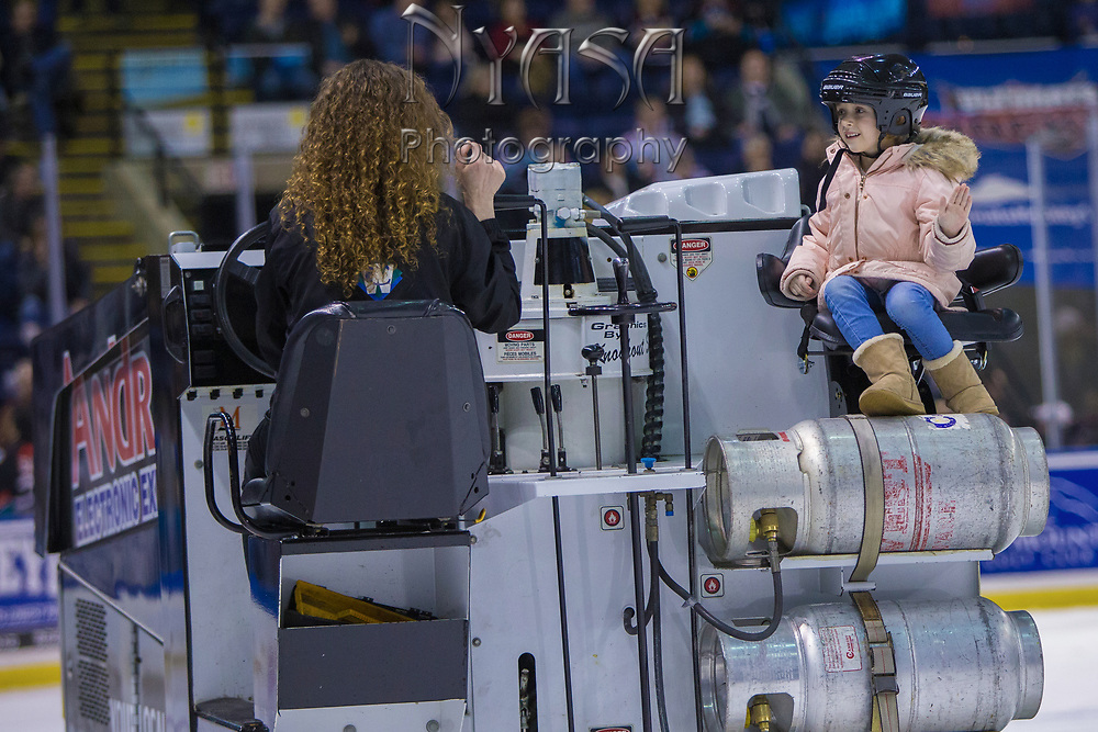 KELOWNA, CANADA - FEBRUARY 07:  Orchard Park Zamboni Rider at the Kelowna Rockets game on February 07, 2018 at Prospera Place in Kelowna, British Columbia, Canada.  (Photo By Cindy Rogers/Nyasa Photography,  *** Local Caption ***