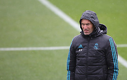 April 10, 2018 - Madrid, Spain - Head coach Zinedine Zidane looks on during a training session ahead of their UEFA Champions LEague quarter final second leg match against Juventus at Valdebebas training ground on April 10, 2018 in Madrid, Spain. (Credit Image: © Raddad Jebarah/NurPhoto via ZUMA Press)