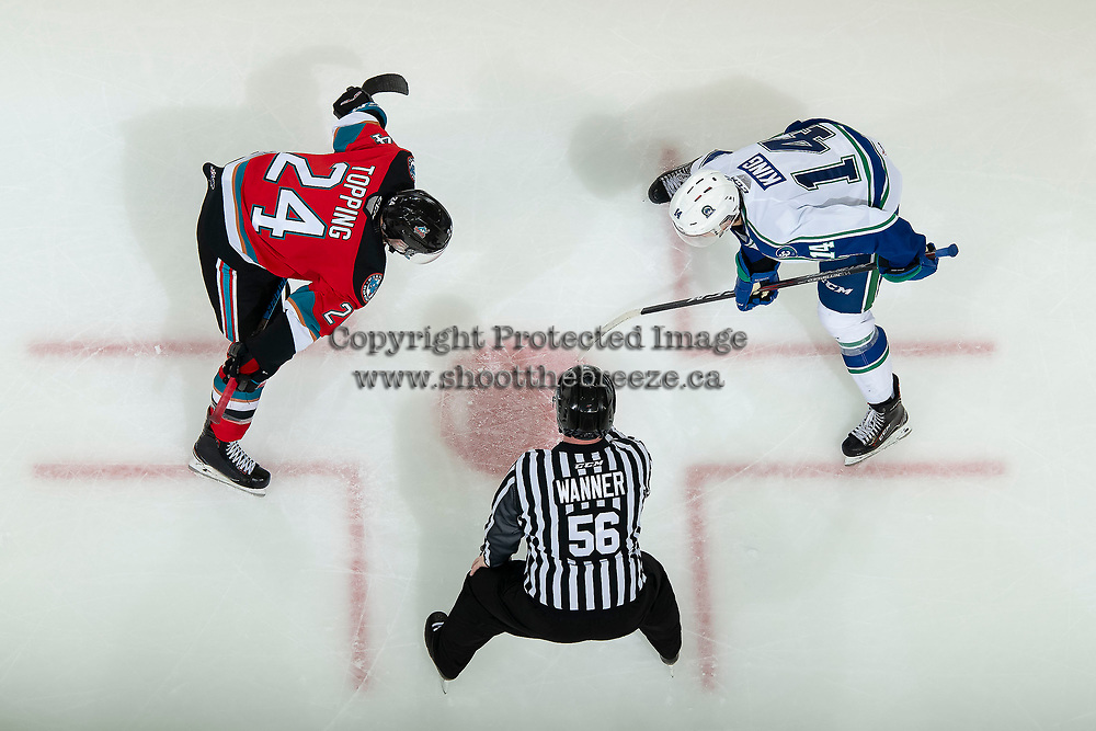 KELOWNA, BC - OCTOBER 16: Kyle Topping #24 of the Kelowna Rockets faces off against Ben King #14 of the Swift Current Broncos at Prospera Place on October 16, 2019 in Kelowna, Canada. (Photo by Marissa Baecker/Shoot the Breeze)