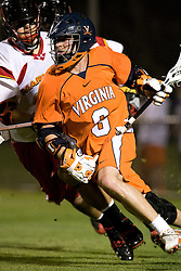 Virginia attackman Ben Rubeor (6) races past a Maryland defender.  The #3 ranked Virginia Cavaliers defeated the #8 ranked Maryland Terrapins 11-8 in the semi finals of the Men's 2008 Atlantic Coast Conference tournament at the University of Virginia's Klockner Stadium in Charlottesville, VA on April 25, 2008.