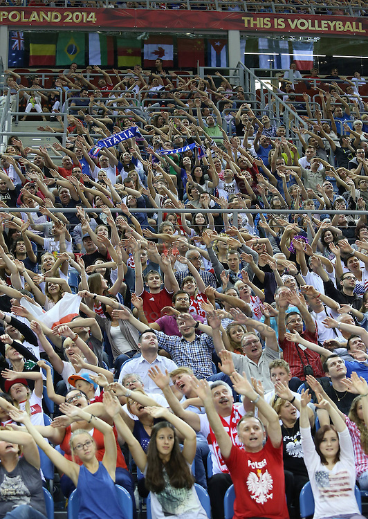 07.09.2014, Krakow Arena, Krakau, POL, FIVB WM, Italien vs USA, Gruppe D, im Bild KIBICE ARENA KRAKOW // during the FIVB Volleyball Men's World Championships Pool D Match beween Italy and USA at the Krakow Arena in Krakau, Poland on 2014/09/07.<br /> <br /> ***NETHERLANDS ONLY***