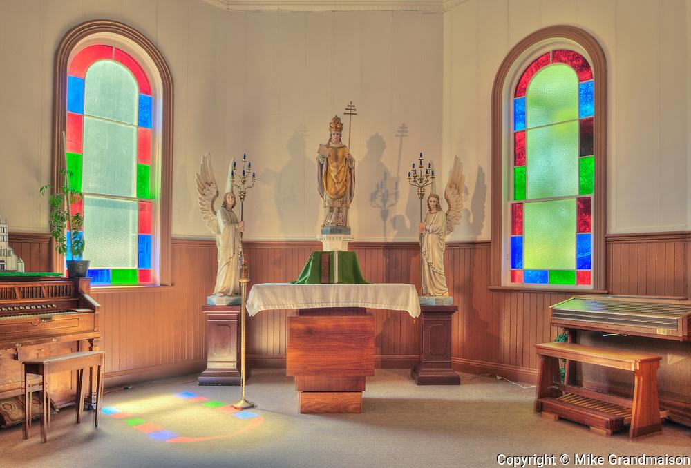 Interior of Saint Léon Church, established in 1894, Saint Leon, Manitoba, Canada