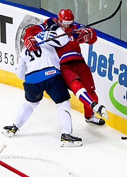 Jarkko Immonen of Finland vs Vitali Atyushov of Russia during ice-hockey match between Russia and Finland of Group E in Qualifying Round of IIHF 2011 World Championship Slovakia, on May 9, 2011 in Orange Arena, Bratislava, Slovakia. (Photo By Vid Ponikvar / Sportida.com)