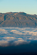 Mauna Kea Observatory as seen from Mauna Loa, Hilo, Hawaii.