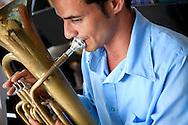 Horn player in Cueto, Holguin, Cuba.