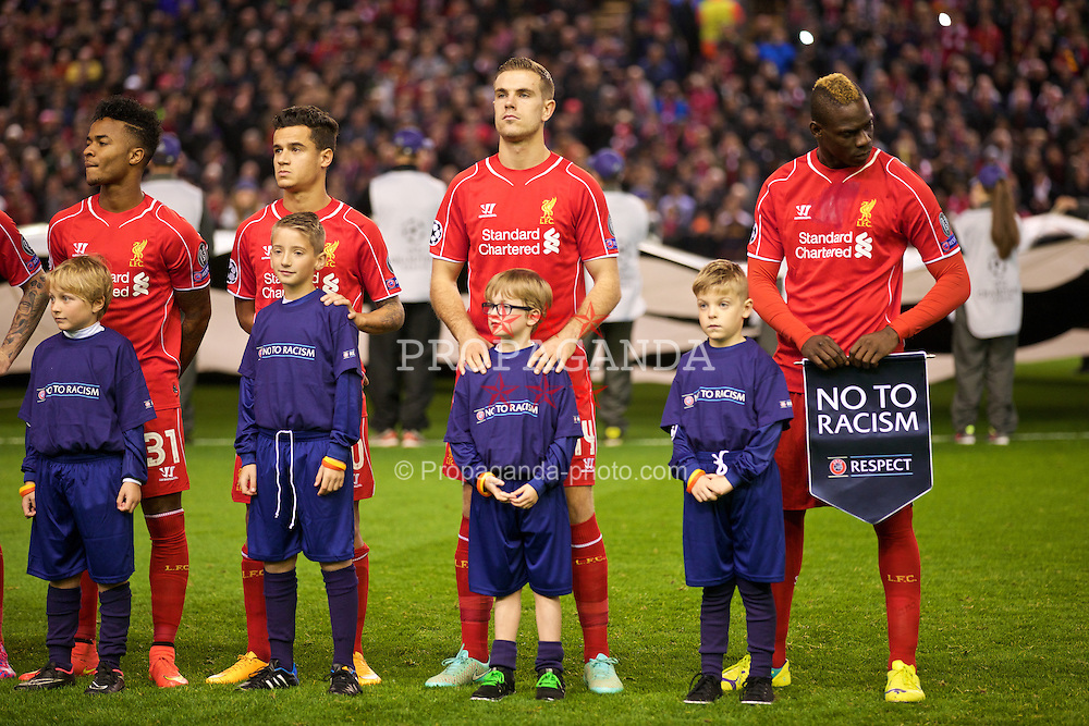 LIVERPOOL, ENGLAND - Wednesday, October 22, 2014: Liverpool's Philippe Coutinho Correia, Jordan Henderson and Mario Balotelli before the UEFA Champions League Group B match against Real Madrid CF at Anfield. (Pic by David Rawcliffe/Propaganda)