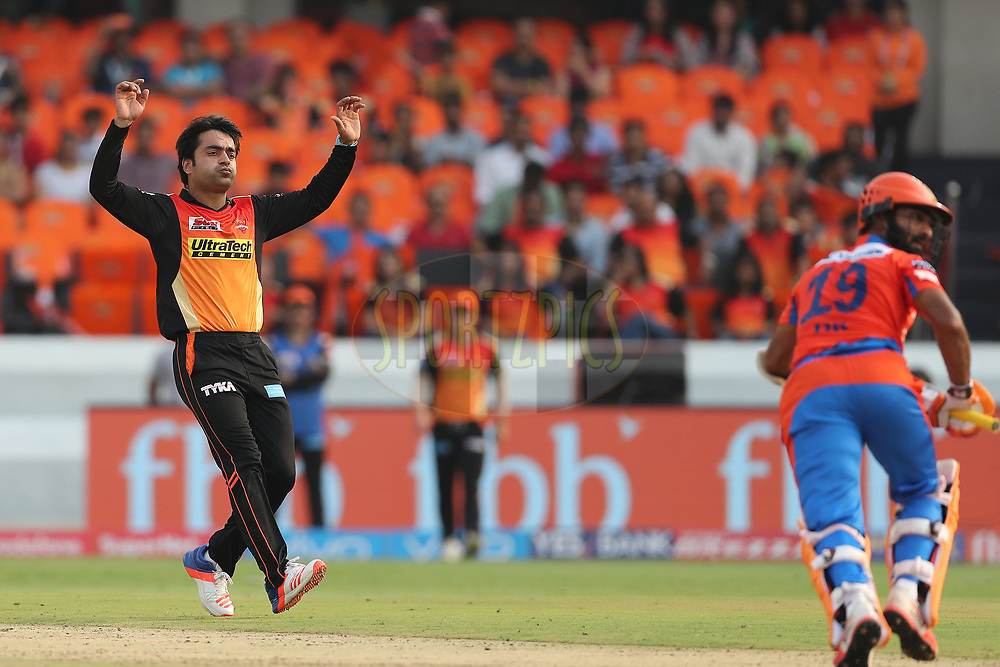 Rashid Khan Arman of the Sunrisers Hyderabad reacts after a delivery during match 6 of the Vivo 2017 Indian Premier League between the Sunrisers Hyderabad and the Gujarat Lions held at the Rajiv Gandhi International Cricket Stadium in Hyderabad, India on the 9th April 2017<br /> <br /> Photo by Ron Gaunt - IPL - Sportzpics