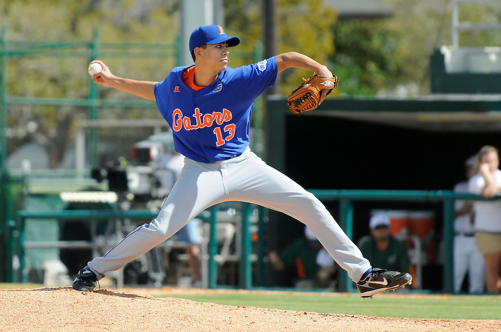 March 2, 2008 - Coral Gables, FL<br /> <br /> Tommy Toledo #13 of the Florida Gators in action during their 6-2 victory over the Miami Hurricanes at Alex Rodriguez Park in Coral Gables, Florida.<br /> <br /> JC Ridley/CSM
