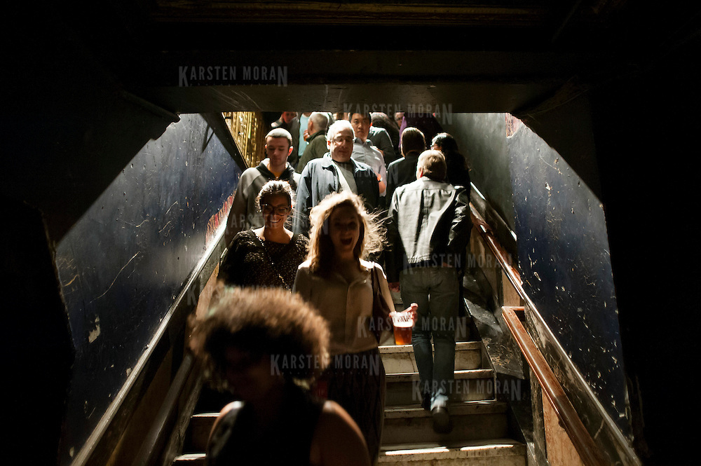 January 14, 2013 - New York, NY : Concertgoers descend the stairs during globalFEST at Webster Hall on Sunday night. CREDIT: Karsten Moran for The New York Times