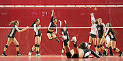 Omaha Duchesne celebrates their victory in the second set of their match against Elkhorn in their Class B state quarterfinal at the Pinnacle Bank Arena on Thursday, Nov. 10, 2016, in Lincoln.<br /> <br /> MATT DIXON/THE WORLD-HERALD