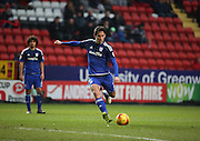 Cardiff City midfielder, Peter Whittingham (7) with a free kick during the Sky Bet Championship match between Charlton Athletic and Cardiff City at The Valley, London, England on 13 February 2016. Photo by Matthew Redman.