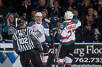 KELOWNA, CANADA - FEBRUARY 1: Nolan Foote #29 an dCalvin Thurkauf #27 of the Kelowna Rockets celebrate a second period goal against the Calgary Hitmen on February 1, 2017 at Prospera Place in Kelowna, British Columbia, Canada.  (Photo by Marissa Baecker/Shoot the Breeze)  *** Local Caption ***