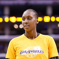 15 August 2014: Los Angeles Sparks forward/center Sandrine Gruda (7) warms up at halftime during the Los Angeles Sparks 77-65 victory over the Seattle Storm, at the Staples Center, Los Angeles, California, USA.
