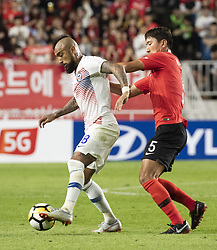 SUWON, Sept. 12, 2018  Jung Wooyoung (R) of South Korea vies with Chile's Artuso Vidal during a friendly soccer match between South Korea and Chile at Suwon World Cup Stadium in Suwon,South Korea, on Sept. 11, 2018. The match ended with a 0-0 draw. (Credit Image: © Lee Sang-Ho/Xinhua via ZUMA Wire)