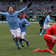 NEW YORK, NEW YORK - April 12: Thomas McNamara #15 of New York City FC celebrates after scoring the winning goal beating goalkeeper David Bingham #1 of San Jose Earthquakes in his sides 2-1 win during the New York City FC Vs San Jose Earthquakes regular season MLS game at Yankee Stadium on April 1, 2017 in New York City. (Photo by Tim Clayton/Corbis via Getty Images)