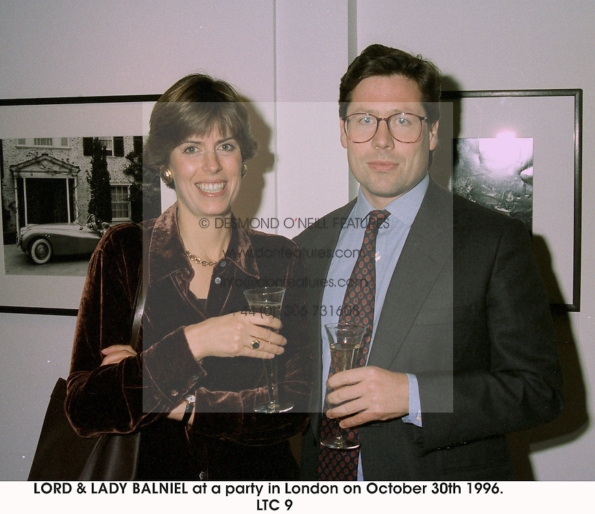 LORD & LADY BALNIEL at a party in London on October 30th 1996. LTC 9