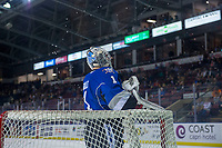 KELOWNA, CANADA - AUGUST 31:  Brock Gould #1 of the Victoria Royals squirts water for a pre-game ritual against the Kelowna Rockets on August 31, 2018 at Prospera Place in Kelowna, British Columbia, Canada.  (Photo by Marissa Baecker/Shoot the Breeze)  *** Local Caption ***