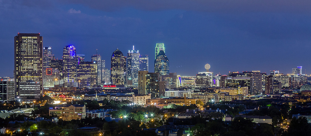 Downtown Dallas, Texas, United States as seen from the North in September, 2012 at dusk.