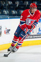 KELOWNA, CANADA - MARCH 5: Jason Fram #2 of the Spokane Chiefs skates with the puck against the Kelowna Rockets on March 5, 2014 at Prospera Place in Kelowna, British Columbia, Canada.   (Photo by Marissa Baecker/Getty Images)  *** Local Caption *** Jason Fram;