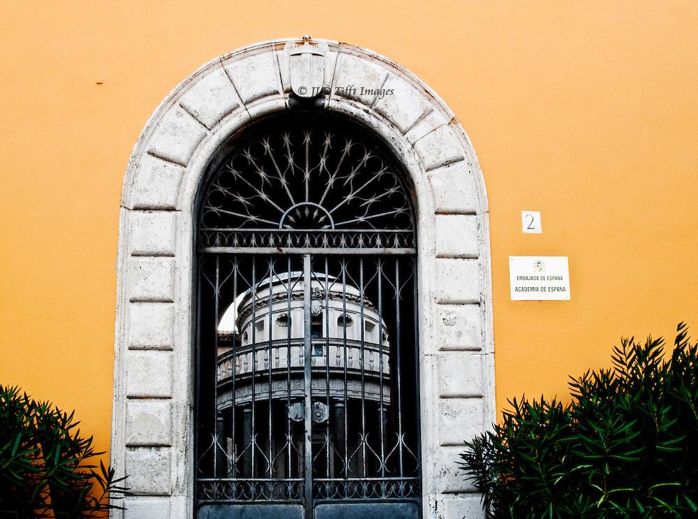 Bramante's Tempietto seen through barred iron gate, Embassy of Spain, Spanish Academy, Rome.
