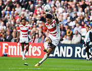Japan full back Ayumu Goromaru scores a penalty during the Rugby World Cup Pool B match between Samoa and Japan at stadium:mk, Milton Keynes, England on 3 October 2015. Photo by David Charbit.