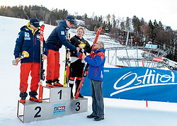 10.01.2018, Hochstein Ski Stadion, Lienz, AUT, FIS Ski Alpin, Serie Tirol, Riesen Slalom, Herren, Siegerehrung, im Bild Fabian Wilkens Solheim (NOR, 2. Platz), Patrick Haugen Veisten (NOR, 1. Platz), Simen Ramberg Christensen (NOR, 3. Platz), Werner Frömel (Ski Club Lienz) // second placed Fabian Wilkens Solheim of Norway, race winner Patrick Haugen Veisten of Norway, third placed Simen Ramberg Christensen of Norway, Werner Frömel (Ski Club Lienz) during the award ceremony for the men's giant slalom of FIS Ski Alpin Serie Tyrol at the Ski Stadium Hochstein in Lienz, Austria on 2018/01/10. EXPA Pictures © 2018, PhotoCredit: EXPA/ Johann Groder