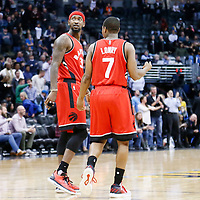 18 November 2016: Toronto Raptors forward Terrence Ross (31) is seen next to Toronto Raptors guard Kyle Lowry (7) during the Toronto Raptors 113-111 OT victory over the Denver Nuggets, at the Pepsi Center, Denver, Colorado, USA.
