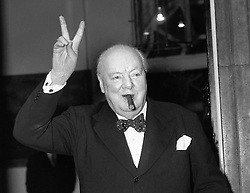 File photo dated 17/09/54 of Sir Winston Churchill. A 1950s London-made violin made from one of his cigar boxes will be auctioned by Ingles & Hayday in their sale on 25 October in London at Sotheby's.