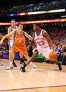 Mar. 26 2010; Phoenix, AZ, USA; New York Knicks guard Toney Douglas (23) dribbles the ball against Phoenix Suns guard Goran Dragic (2) in the first half at the US Airways Center.  Mandatory Credit: Jennifer Stewart-US PRESSWIRE.