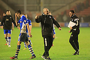 Keith Hill celebrates during the Sky Bet League 1 match between Walsall and Rochdale at the Banks's Stadium, Walsall, England on 2 January 2016. Photo by Daniel Youngs.