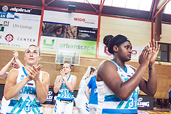 Teams celebrate during Women's Basketball - Slovenia vs Slovaska on the 14th of June 2019, Dvorana Poden, Skofja Loka, Slovenia. Photo by Matic Ritonja / Sportida