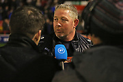 Alun Armstrong talks to BT Sport after the The FA Cup match between Walsall and Darlington at the Banks's Stadium, Walsall, England on 9 November 2019.