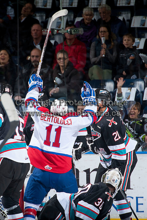 KELOWNA, CANADA - NOVEMBER 20: Luke Bertolucci #11 of Edmonton Oil Kings celebrates a goal against the Kelowna Rockets on November 20, 2015 at Prospera Place in Kelowna, British Columbia, Canada.  (Photo by Marissa Baecker/ShoottheBreeze)  *** Local Caption *** Luke Bertolucci;