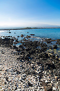 Pueo Bay, Black sand and white coral, Weliweli Point, Kohala Coast, Big Island of Hawaii