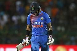 September 6, 2017 - Colombo, Sri Lanka - Indian cricket captain Virat Kohli reacts in disappointment after his dismissal during the 1st and only T-20 cricket match between Sri Lanka and India at R Premadasa International cricket stadium in Colombo, Sri Lanka on Wednesday 6 September 2017. (Credit Image: © Tharaka Basnayaka/NurPhoto via ZUMA Press)