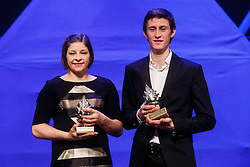 Peter Prevc  and Tina Trstenjak winner of Slovenian sport athlete of the year at Slovenian Sports personality of the year 2016 annual awards presented on the base of Slovenian sports reporters, on December 13, 2016 in Cankarjev dom, Ljubljana, Slovenia. Photo by Grega Valancic / Sportida