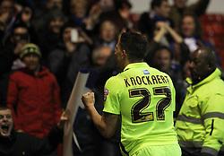 Anthony Knockaert of Brighton & Hove Albion celebrates after Steve Sidwell scored their second goal - Mandatory by-line: Jack Phillips/JMP - 11/04/2016 - FOOTBALL - City Ground - Nottingham, England - Nottingham Forest v Brighton and Hove Albion - Sky Bet Championship