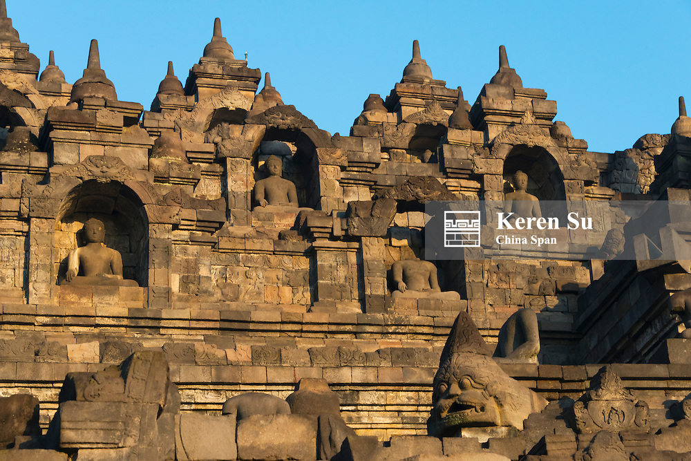 Borobudur at dawn, UNESCO World Heritage site, Magelang,Central Java, Indonesia