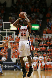 Sean Singletary (44) shoots an open jumper against UNC.  SIngeltary led the Hoos in scoring with 18 points in the game.  UVA won 72-68.
