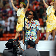 Hawaii performing legend, Henry Kapono, performs prior to kickoff at the NFL Pro Bowl.  Photo by Barry Markowitz, 1/29/12