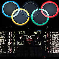 02 August 2012: View of the scoreboard at the end of the 156-73 Team USA victory over Team Nigeria, during the men's basketball preliminary, at the Basketball Arena, in London, Great Britain.