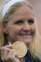 Winner Kirsty Coventry of Zimbabwe at the victory ceremony after the Women's  200m Backstroke Final during the 13th FINA World Championships Roma 2009, on August 1, 2009, at the Stadio del Nuoto,  in Foro Italico, Rome, Italy. (Photo by Vid Ponikvar / Sportida)