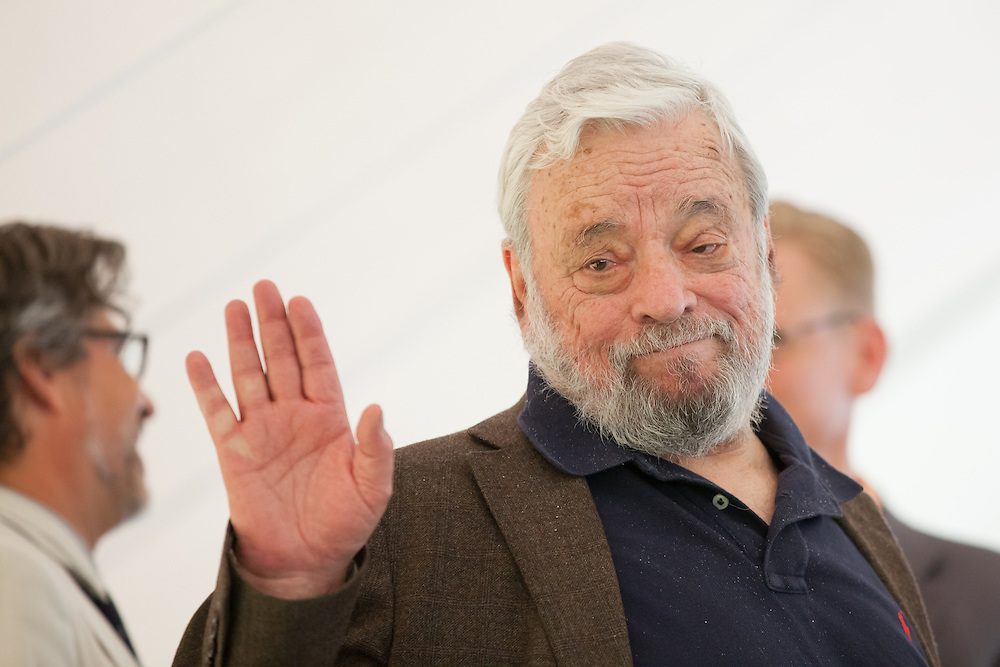 Broadway composer and lyricist Stephen Sondheim waves after accepting the Edward MacDowell Medal for lifetime achievement, at the MacDowell Colony, in Peterborough, NH on Sunday, August 11, 2013. Sondheim has won more Tony Awards than any other composer. His hit musicals include &quot;Follies,&quot; ''A Little Night Music&quot; and &quot;Sweeney Todd.&quot; <br /> (Matthew Cavanaugh)