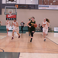 2nd year guard Michaela Kleisinger (2) of the Regina Cougars in action during the home game on January  28 at Centre for Kinesiology, Health and Sport. Credit: Arthur Ward/Arthur Images