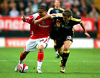 Photo: Tom Dulat/Sportsbeat Images.<br /> <br /> Charlton Athletic v Cardiff City. Coca Cola Championship. 10/11/2007.<br /> <br /> Jerome Thomas of Charlton Athletic and Stephen McPhail of Cardiff City with the ball.